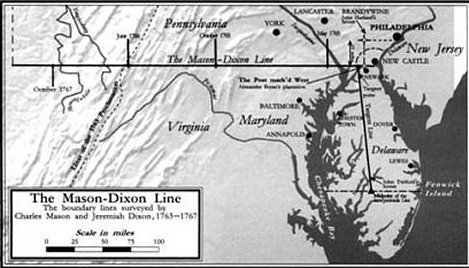 thomas pynchon mason dixon map of mason dixon line